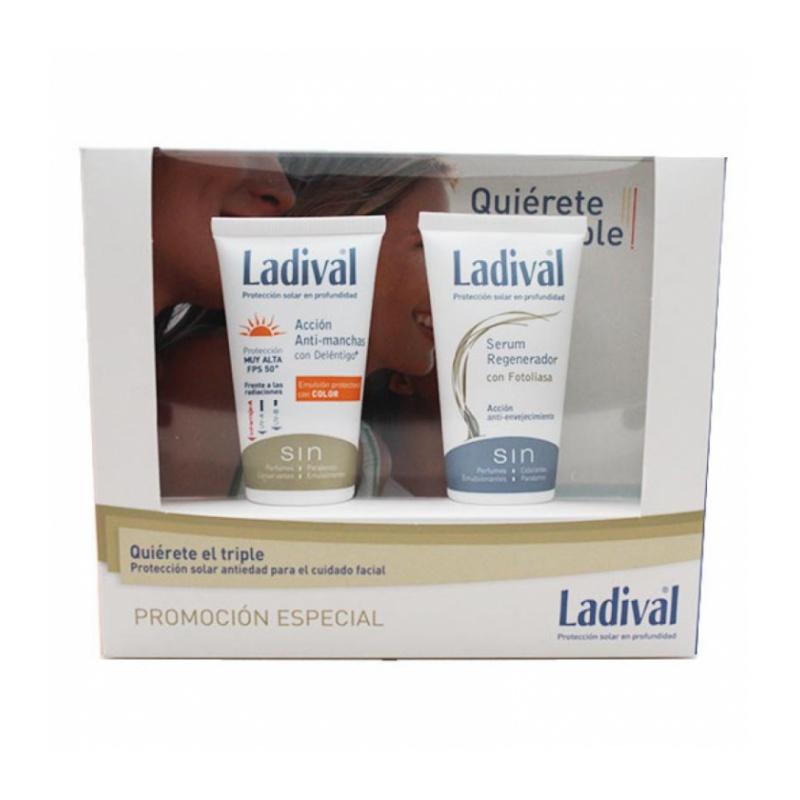 Ladival Cofre Antiedad Antimanchas Colos SPF50+ 50ml y Sérum Regenerador con Fotoliasa 50ml