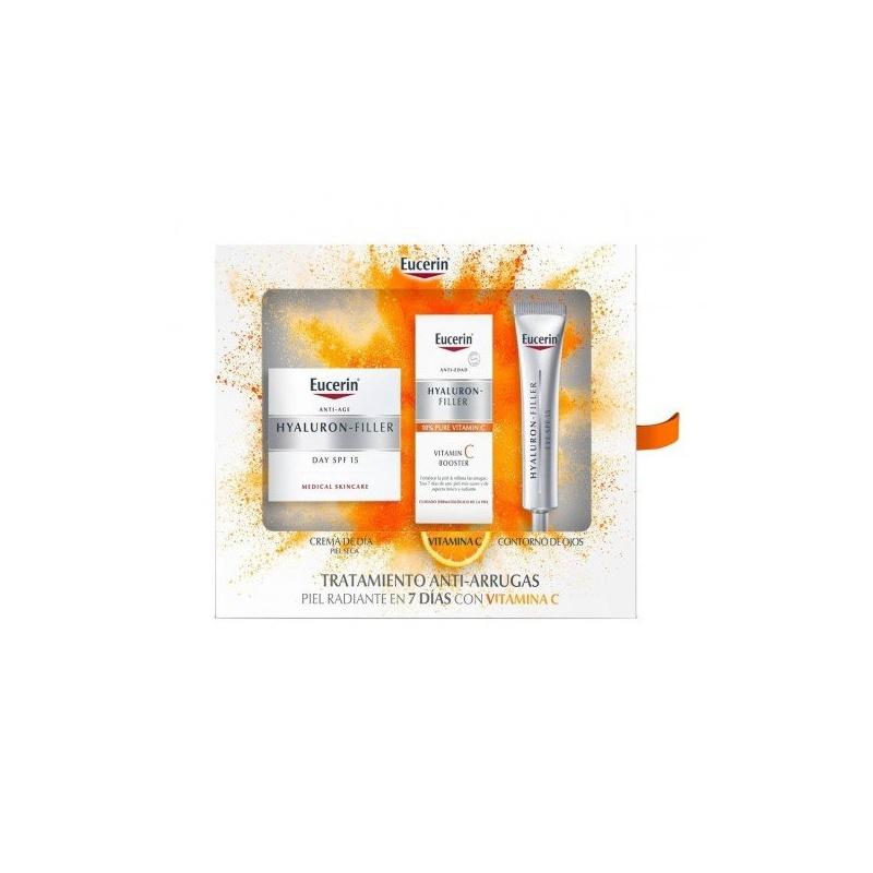 Eucerin Cofre Hyaluron Filler Piel Seca 50ml+Vitamina C Ampolla+Contorno
