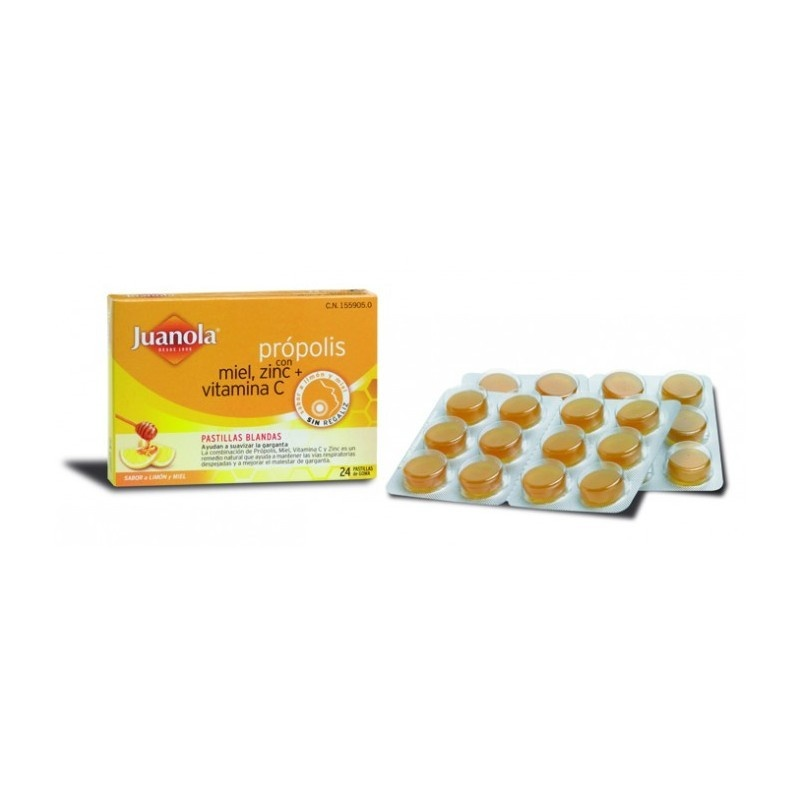 Juanola Própolis Miel, Zinc, Vitamina C Sabor Miel-Limón 24 Pastillas