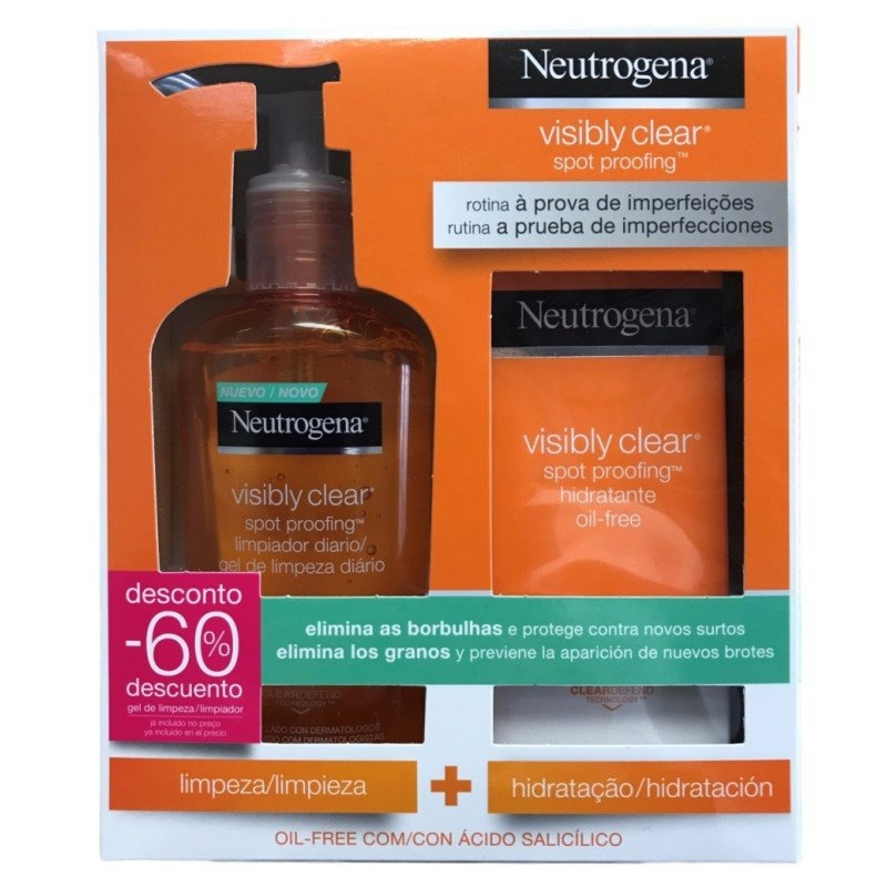 Neutrógena Visibly Clear Gel Limpiador Diario + Crema Hidratante