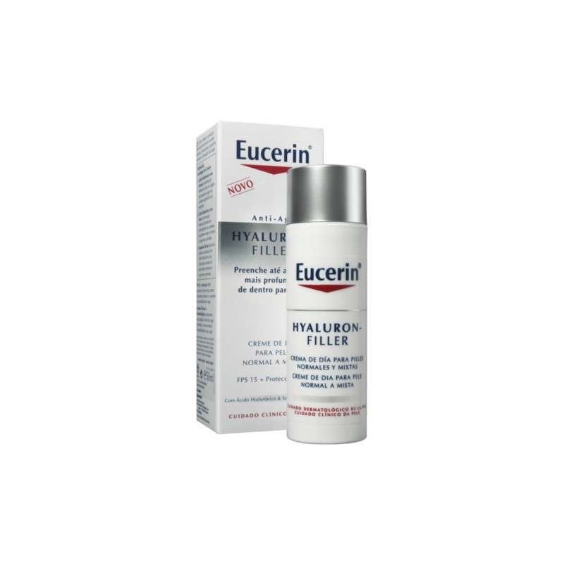 Pack Eucerin Hyaluron Filler Día Piel Normal/Mixta + Agua Micelar + Sun Fluído Antiedad 5ml